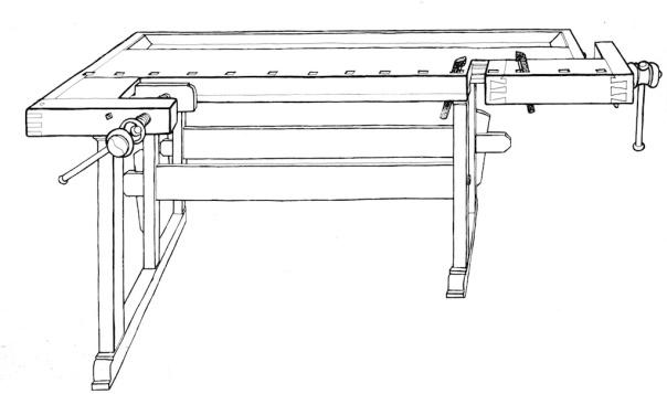 """Teikning av høvelbenk brukt som illustrasjon i boka """"Snekker"""" av Trond Gjerdi. (Gjerdi 1984). Benken har detaljar som er typiske for norske høvelbenkar på 1900-talet. Fast framtang, enkel hakeholrekke og den L-forma baktanga."""