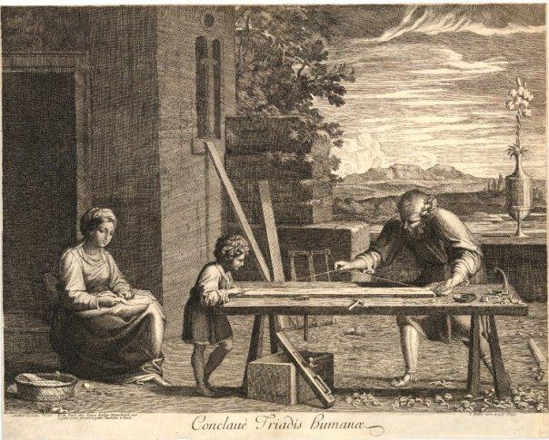 """Gravering av oljemåleriet """"Le Raboteur"""" av Annibale Carracci (1560-1609). Biletet viser Jesus og Josef som arbeider saman på høvelbenken. Legg merke til killingfoten som er ganske flat. Biletet frå: http://lostartpress.files.wordpress.com/2013/04/le-raboteur-01-conclave-triadis-humanae-1670-1686.jpg"""