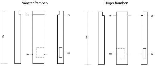 Bänkens framben.   Tapphålet i vänster framben är 113 x 38 och 10,2 cm djupt. Tapphålet i höger framben är 113 x 38 och 8,5 cm djupt. Efter uppmätningsritning av Fred Hocker.