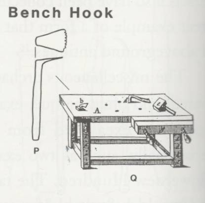 Drawing of the bench hook found in Virginia. From the book: Eighteenth-Century Woodworking Tools. James M. Gaynor, 1997