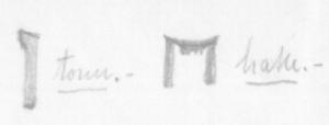 Skisse av hake og tonn i eit av svara frå Hølonda. Haken er av typen med to tangar slik som er vanleg på baktanga på enkelte høvelbenkar. Døme på slike er frå Siljansnäs og Nordmøre.