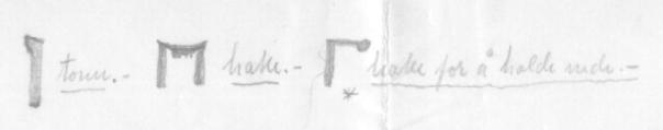 Hake for å halde fast teikna av S. J. Almås frå Hølonda i Sør-Trøndelag. Han har også med to variantar av benkehake, tonn og hake med to tangar.