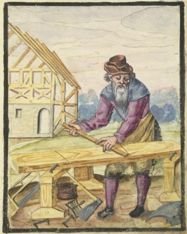 I Die Hausbucher der Nürnberger Zwölfbrüderstiftungen er denne teikninga av tømraren Hans Stenger med. Teikninga er frå 1607 og viser arbeidsbukken og verktøyet hans.