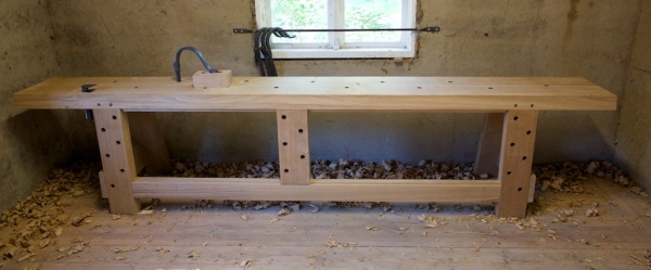 The almost finished workbench of the Vasa model are set up in our improvised workshop in Mariestad. Photo: Roald Renmælmo
