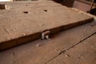 Bolten for framtanga kjem ut i høvelbenkskuffa. Skruven har firkanta skruvro (mutter) som var vanleg tidlegare. Foto: Roald Renmælmo