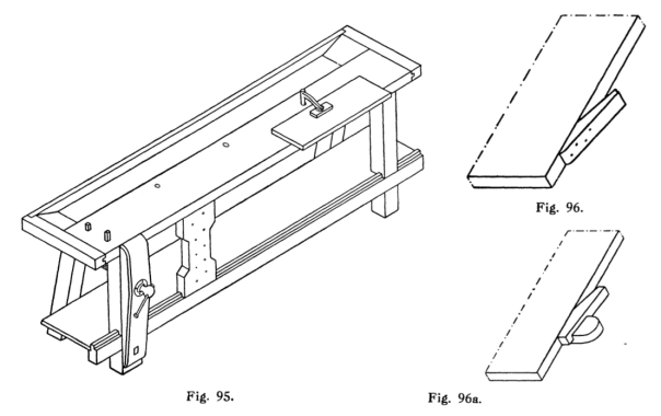 "Workbench with a similar vice as the bench Ernest uses. It has also holdfast, or ""klemhaak"" as the term that is used in the book. It has also a slinding deadman as the bench from Vasa. From ""Handboek voor Timmerlieden"".  (Groot 1914)"