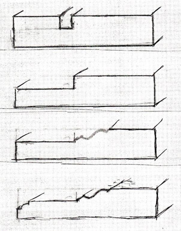 Skisse over framgangsmåten på den eine lista. Øverst er det bare høvla not, så er falsen ferdig. På tredje skisse er det høvla profil på kanten av falsen og sist er det høvla en liten staff på innerkant av lista.