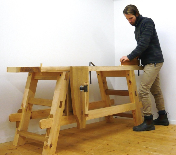 "The BA student Anton Nilsson at the programme for ""Bygghantverk"" in Mariestad in Sweden has made a workbench for his final thesis. In Sweden this is called  ""kandidatexamen. Photo: Anton Nilsson"