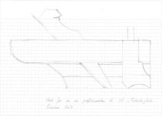 Skisse av stor staffhøvel med kort såle og høvelstokk med utgangspunkt i de franske vognmakerhøvlene. Skisse: Ole Jørgen Schreiner