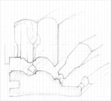 For å finne fram til rekkefølge i høvling og kor mange ulike høvler som var nødvendig laga vi skisser av profilen og førte opp de ulike høvlene. Skisse: Ole Jørgen Schreiner