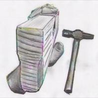 Med dette grepet kan ein justere tanna på semshøvelen med hammar. Med hammaren kan ein slå forsiktig på tanna og kilen for justering. Skisse: Rune Hoflundsengen