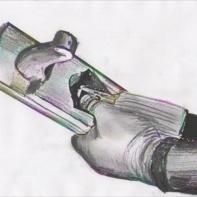 For høvlar med sponutkast midt på er dette eit bra grep for å sikre at kilen og tanna held seg på plass under justering. Tommelen pressar mot høveltanna. Skisse: Rune Hoflundsengen