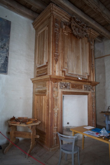This fireplace was made before 1676 and several of the moldings fit with planes in the collection. Photo: Roald Renmælmo