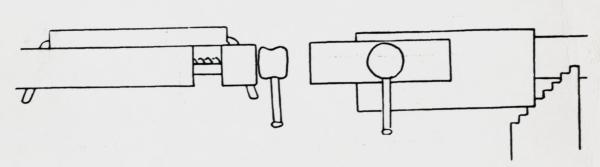 For høvling av kant kan ein spenne fast smale emne i baktanga (til venstre) og breie emne i framtanga. (til høgre)