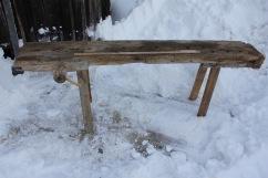 Høvelbenken (tommestokken er 1m). Foto: Kai Johansen